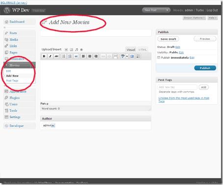 Настраиваемые типы записей в WordPress 3.0